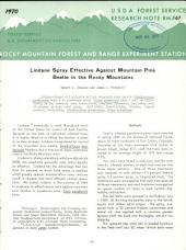 Lindane spray effective against mountain pine beetle in the Rocky Mountains