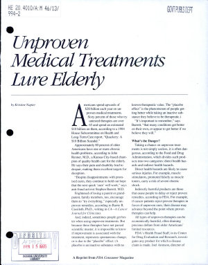 Unproven Medical Treatments Lure Elderly