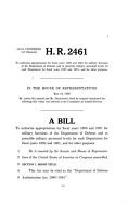 Hearings on National Defense Authorization Act for Fiscal Year 1990  H R  2461 and Oversight of Previously Authorized Programs Before the Committee on Armed Services  House of Representatives  One Hundred First Congress  First Session PDF