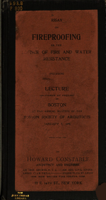 Essay on Fireproofing, Or, The Science of Fire and Water Resistance