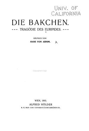Die Bakchen PDF