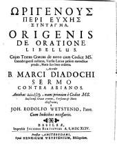 De oratione libellus: accedit Marci Diadochi Sermo contra Arianos