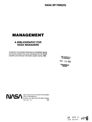 Management  a Bibliography for NASA Managers PDF