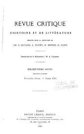 Revue critique d'histoire et de littérature: Numéro2