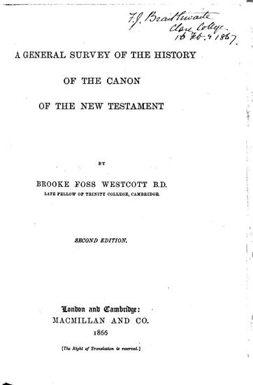 A General Survey of the History of the Canon of the New Testament PDF