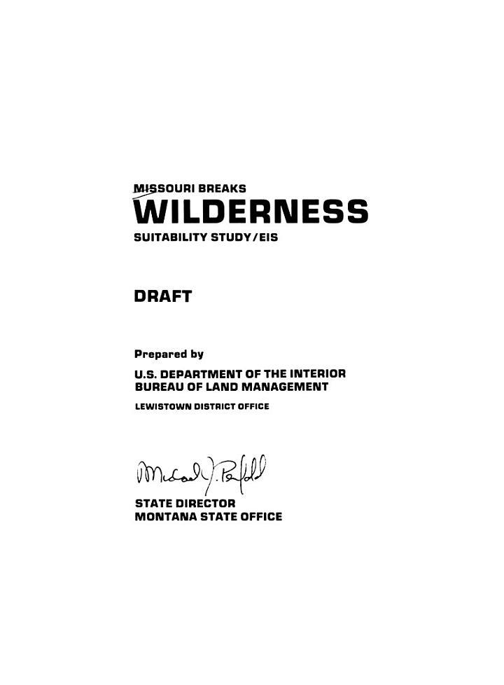 Missouri Breaks Wilderness Suitability Study, EIS, Draft