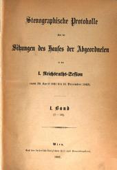 Stenographische Protokolle des Abgeordnetenhauses des Reichsrathes: Band 1,Ausgabe 1