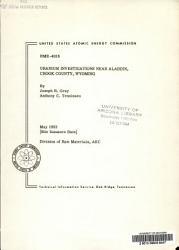Uranium Investigations Near Aladdin Crook County Wyoming Book PDF