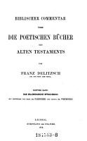 Biblischer Commentar   ber die poetischen B  cher des Alten Testaments  Das Salomonische Spruchbuch PDF