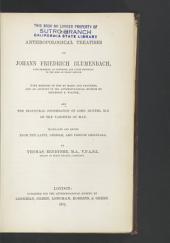The Anthropological Treatises of Johann Friedrich Blumenbach ...