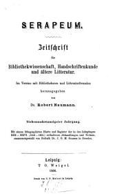 Serapeum ; Zeitschrift für Bibliothekwissenschaft, Handschriftenkunde und ältere Litteratur: Band 127