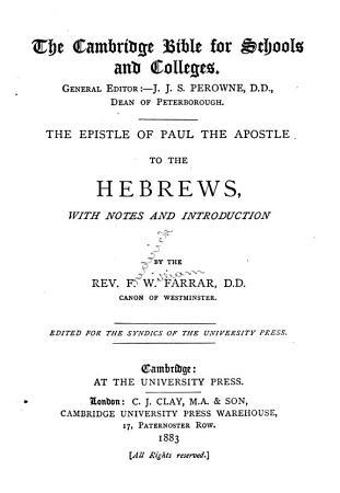 The Epistle of Paul the Apostle to the Hebrews PDF