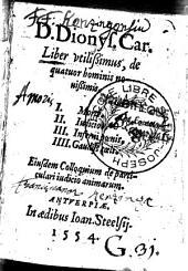 Liber utilissimus De Quatuor Hominis novissimis Ejusdem Colloquium de particulari Judicio animarum