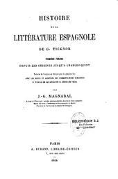 Histoire de la littérature espagnole: Volume1