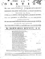 An Oration Delivered On The Late Public Commencement At Rhode Island College In Providence September 1774 Book PDF