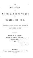 The Novels and Miscellaneous Works of Daniel De Foe  Memoirs of a cavalier  Memoirs of Captain Carleton  Dickory Cronke  etc  1870 PDF