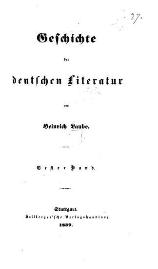 Geschichte der deutschen Literature PDF