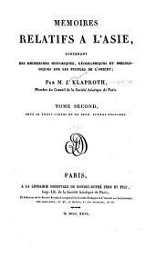 Mʹemoires relatifs à l'Asie: contenant des recherches historiques, gʹeographiques et philologiques sur les peuples de l'Orient, Volume2