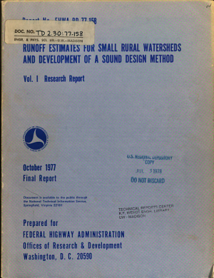 Runoff Estimates for Small Rural Watersheds and Development of a Sound Design Method PDF