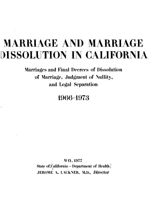 Marriage and Marriage Dissolution in California
