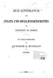 Zur litteratur der staats- und socialwissenschaften der letzen 25 jahre