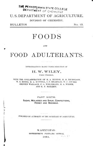 Foods and Food Adulterants      Sugar  molasses and sirup  confections  honey and beeswax