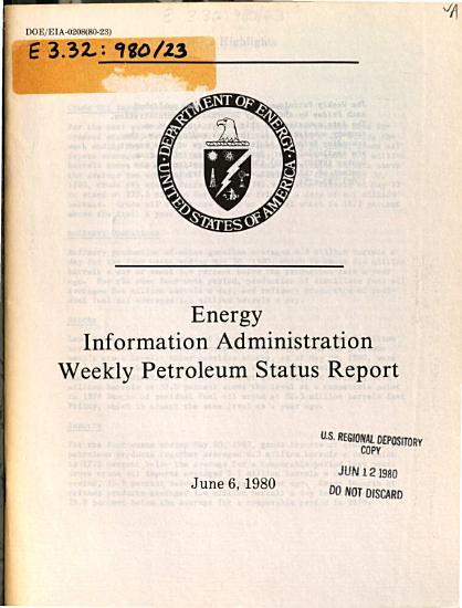 Energy Information Administration Weekly Petroleum Status Report PDF