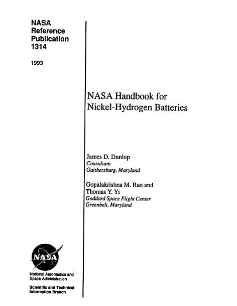 Nasa Handbook For Nickel Hydrogen Batteries