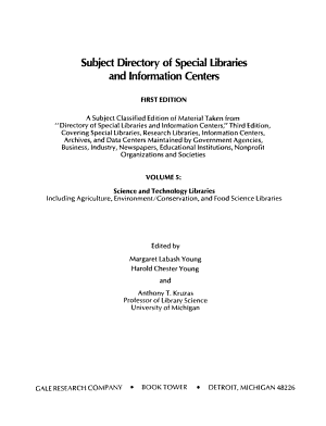 Subject Directory of Special Libraries and Information Centers  Science and technology libraries  including agriculture  environment