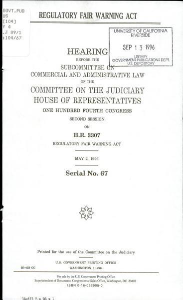 Download Regulatory Fair Warning Act Book