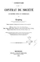 Commentaire du contrat de société en matière civile et commerciale par Troplong