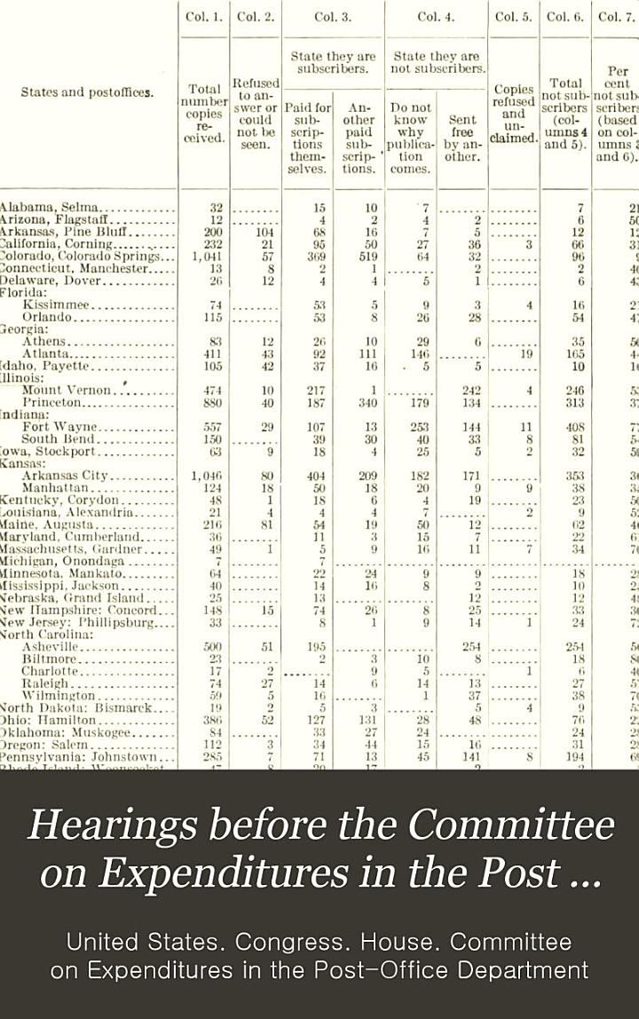 Hearings Before the Committee on Expenditures in the Post Office Department, House of Representatives, on House Resolution, No. 109, to Investigate the Post Office Department ...