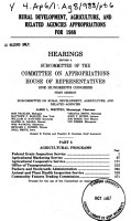 Rural development  agriculture  and related agencies appropriations for 1988 PDF