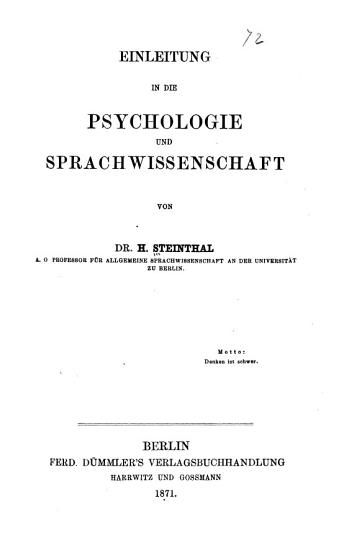 Einleitung in die Psychologie und Sprachwissenschaft PDF