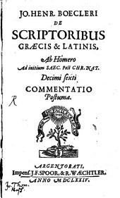 De Scriptoribus graecis et latinis ... commentatio