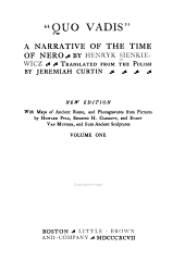 """""""Quo Vadis."""": A Narrative of the Time of Nero, Tom 1"""