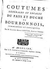 Coutumes générales et locales du pays et duché de Bourbonnais