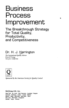 Business Process Improvement  The Breakthrough Strategy for Total Quality  Productivity  and Competitiveness PDF