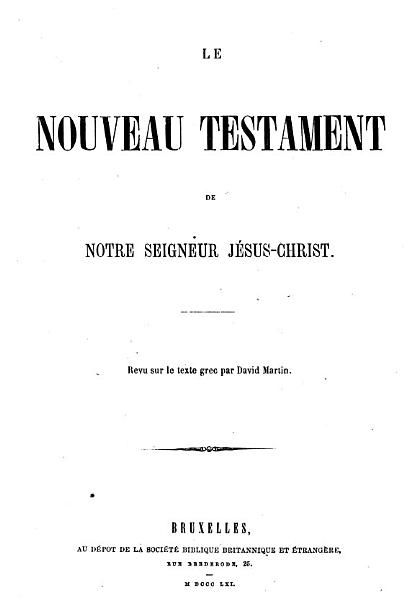 Download Le Nouveau Testament     Revu sur le texte grec par David Martin Book