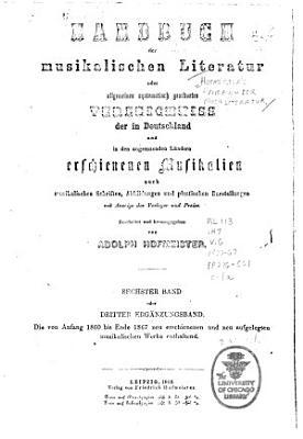 Hofmeisters Handbuch der Musikliteratur PDF