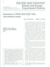 Characteristics of people who start fires-- some preliminary findings