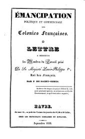 Émancipation politique et commerciale des colonies françaises, lettre: Volume10