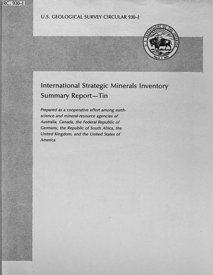International Strategic Minerals Inventory Summary Report: Tin