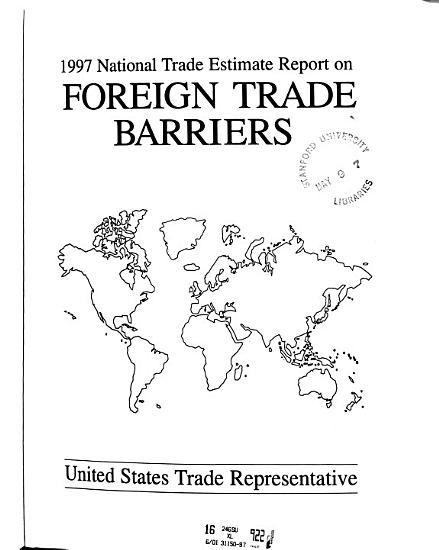 National Trade Estimate     Report on Foreign Trade Barriers PDF