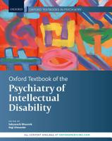 Oxford Textbook of the Psychiatry of Intellectual Disability PDF