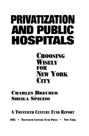 Privatization and Public Hospitals PDF
