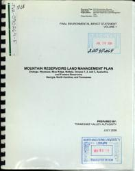 Mountain Reservoirs Land Management Plan Chatuge Hiwassee Blue Ridge Nottely Ocoees 1 2 And 3 Apalachia And Fontana Reservoirs Book PDF