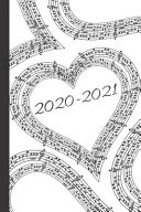 Black   White Heart Sheet Music Lovers 25 Month Weekly Planner Dated Calendar Gift Notebook for Women Or Men