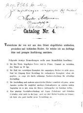 Catalog: Verzeichniss der von mir aus d. Orient eingef. arab., pers. u. türk. Bücher, für welche ich um Aufträge bitte u. prompte Ausführung zusichere, Band 4