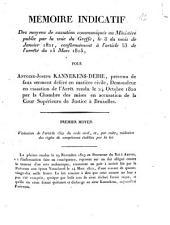Mémoire indicatif des moyens de cassation communiqués au Ministère public ...